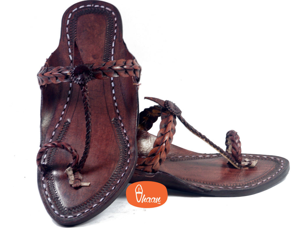 Single Wadi Dark Brown Ladies Kolhapuri Chappal-vhaanfootwear-7-vhaanfootwear