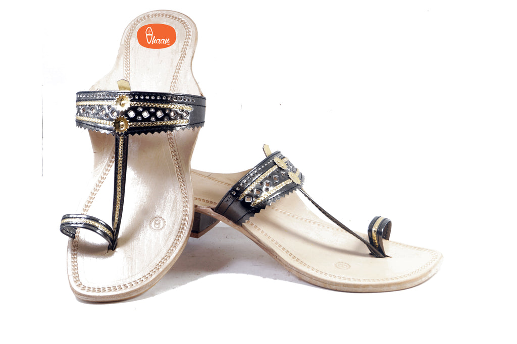 Chrome Black Color Ladies Kolhapuri chappal with Hills
