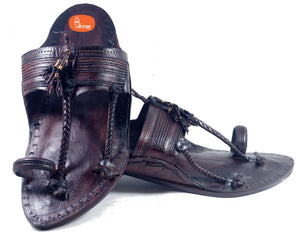 Khas Dark Brown Senapati Kapashi Kolhapuri chappal for men (With Sound)-vhaanfootwear-6-vhaanfootwear