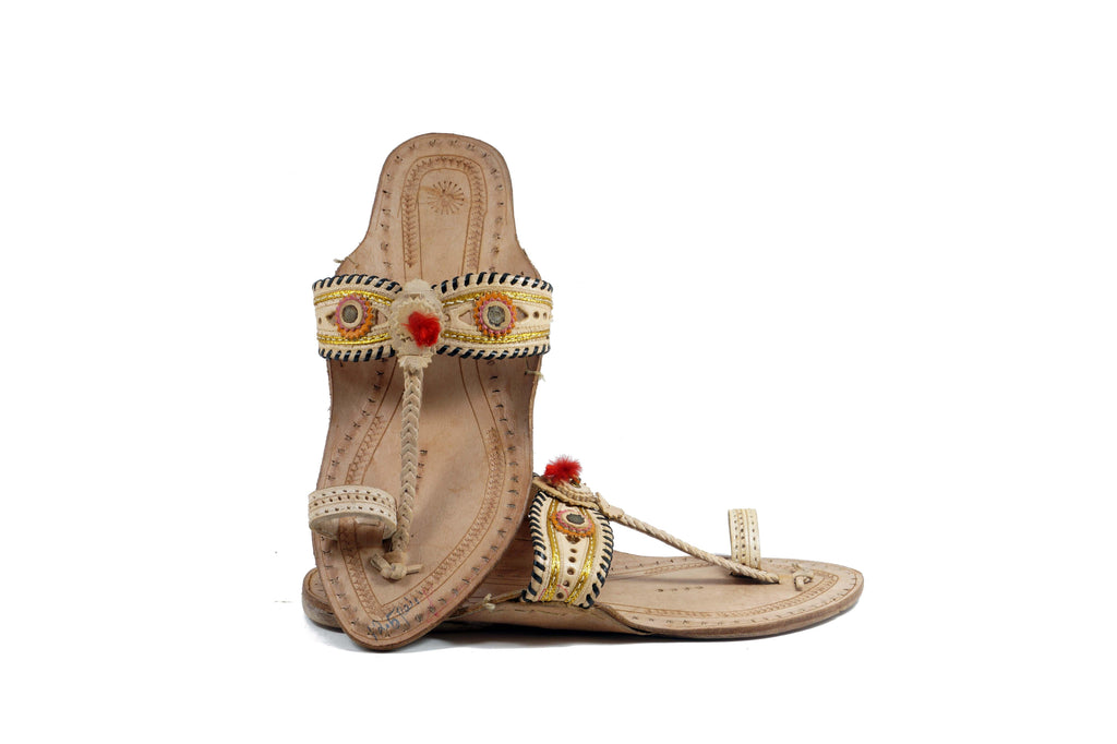 White Color Special crafted ladies kolhapuri chappal