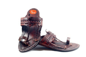 VHAAN Handmade Authentic Genuine Dark Brown Leather Kolhapuri Chappal for Men