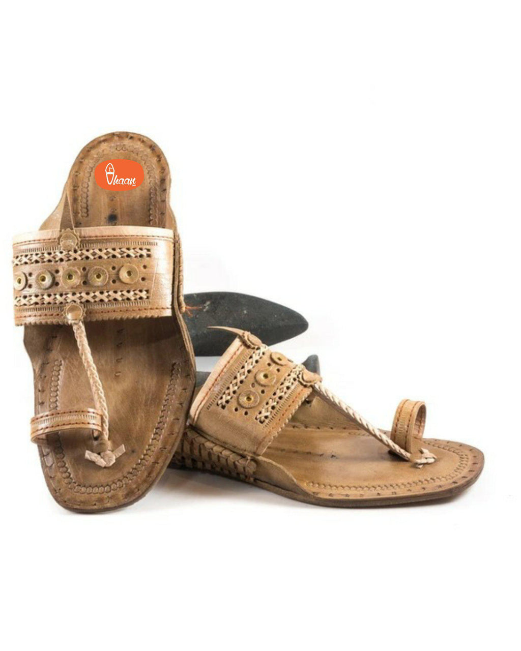 Special Moja(T) Shape Broad Kolahpuri Chappal For Men Unique Ethnic Design Punch Belt  Design