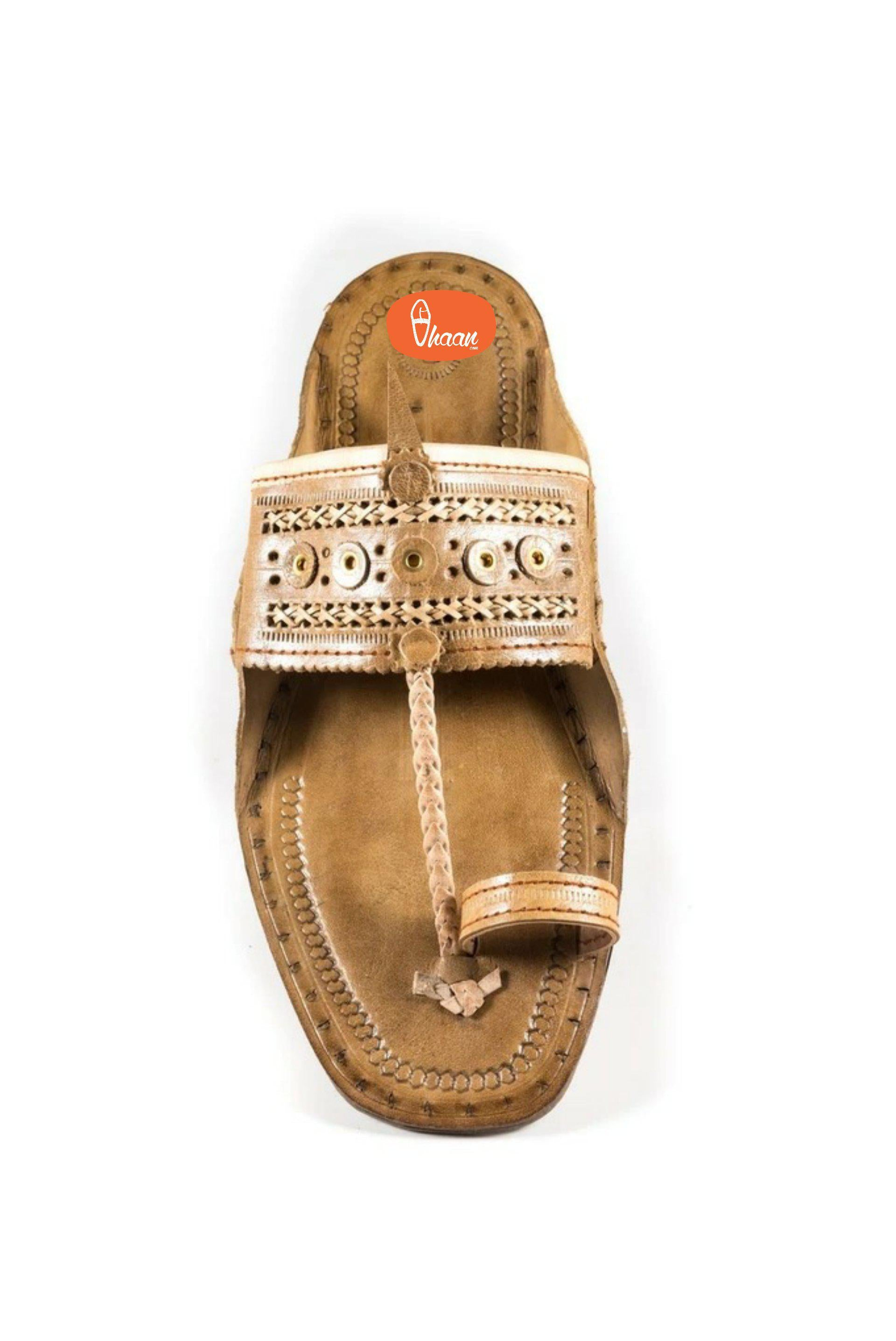 Special Moja(T) Shape Broad Kolahpuri Chappal For Men  Barabandi Punch Belt  Design
