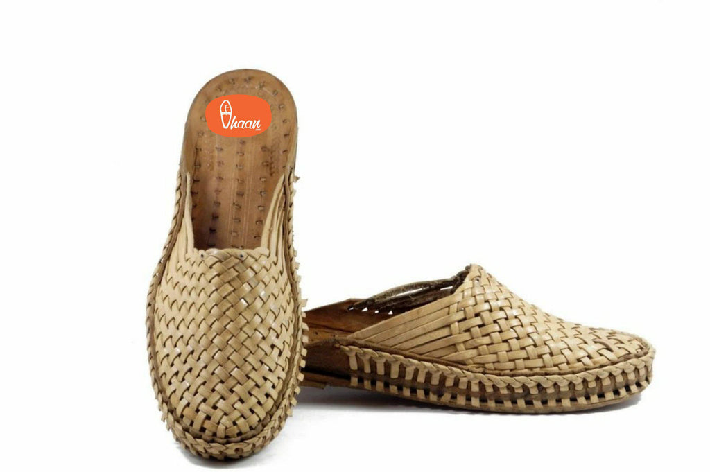 Grey Color Moja Shape awesome handcrafted and handstitched net slip on  Kolhapuri chappal for  Men
