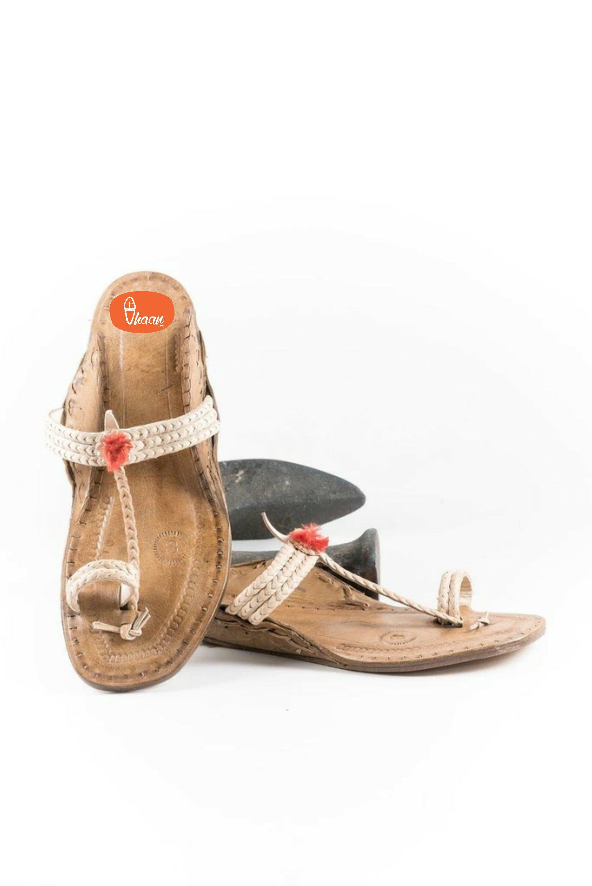 Three Braided Pure leather handicraft ladies kolhapuri chappal by vhaan