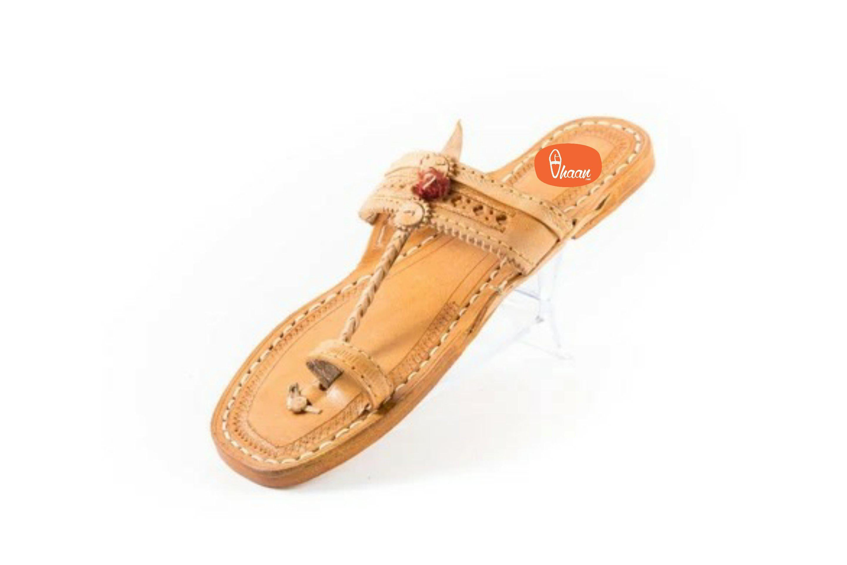 Yellow Moja(T) Shape Red Gonda Veni Belt(Patta) detailed punching  Kolhapuri chappal for  Women