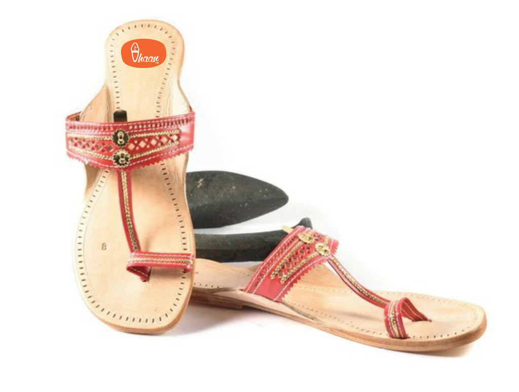 Ladies Red color kolhapuri chappal made in best quality leather