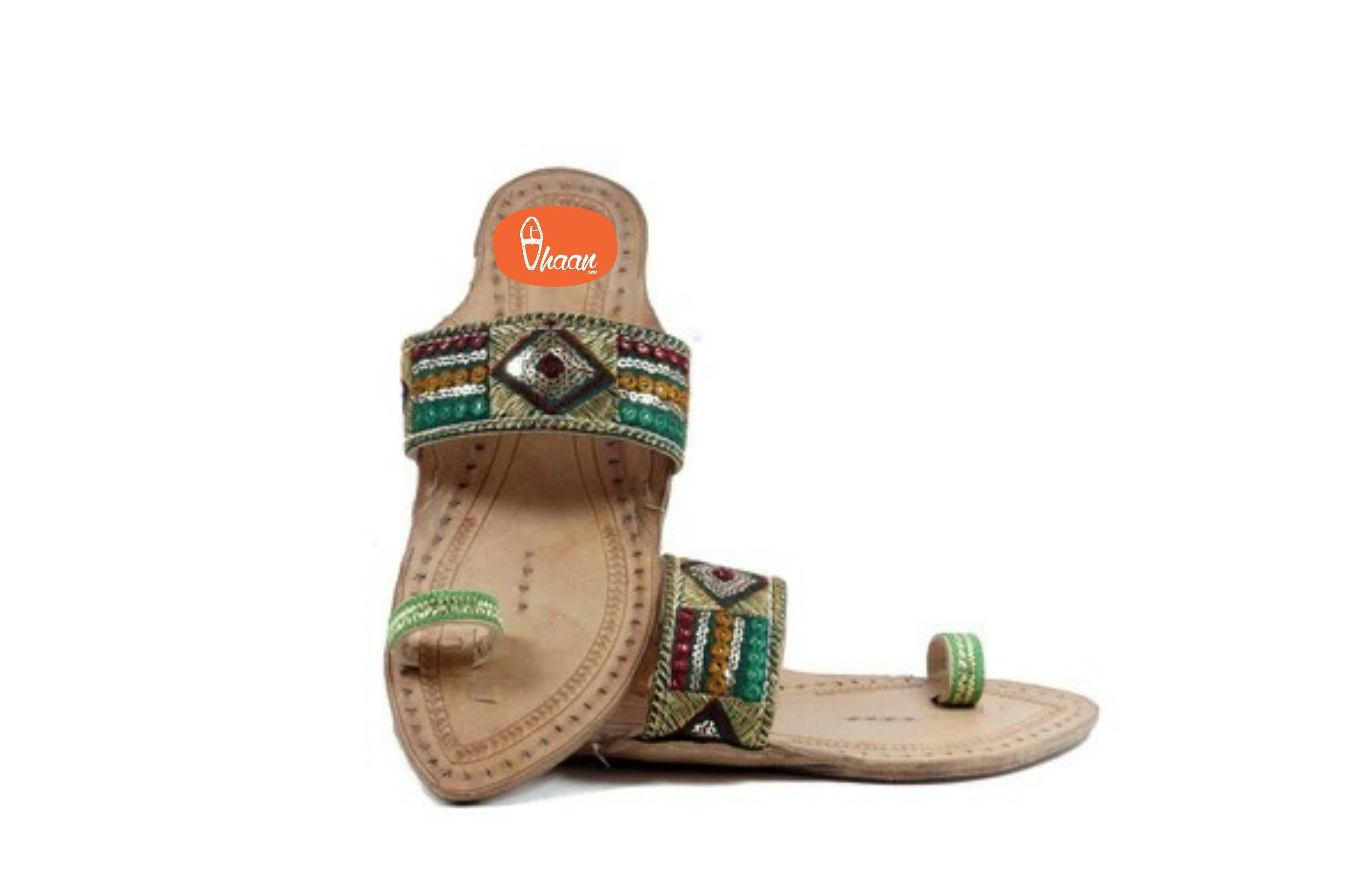 Green Embrodary design ladies kolhapuri chappal (Emerald)