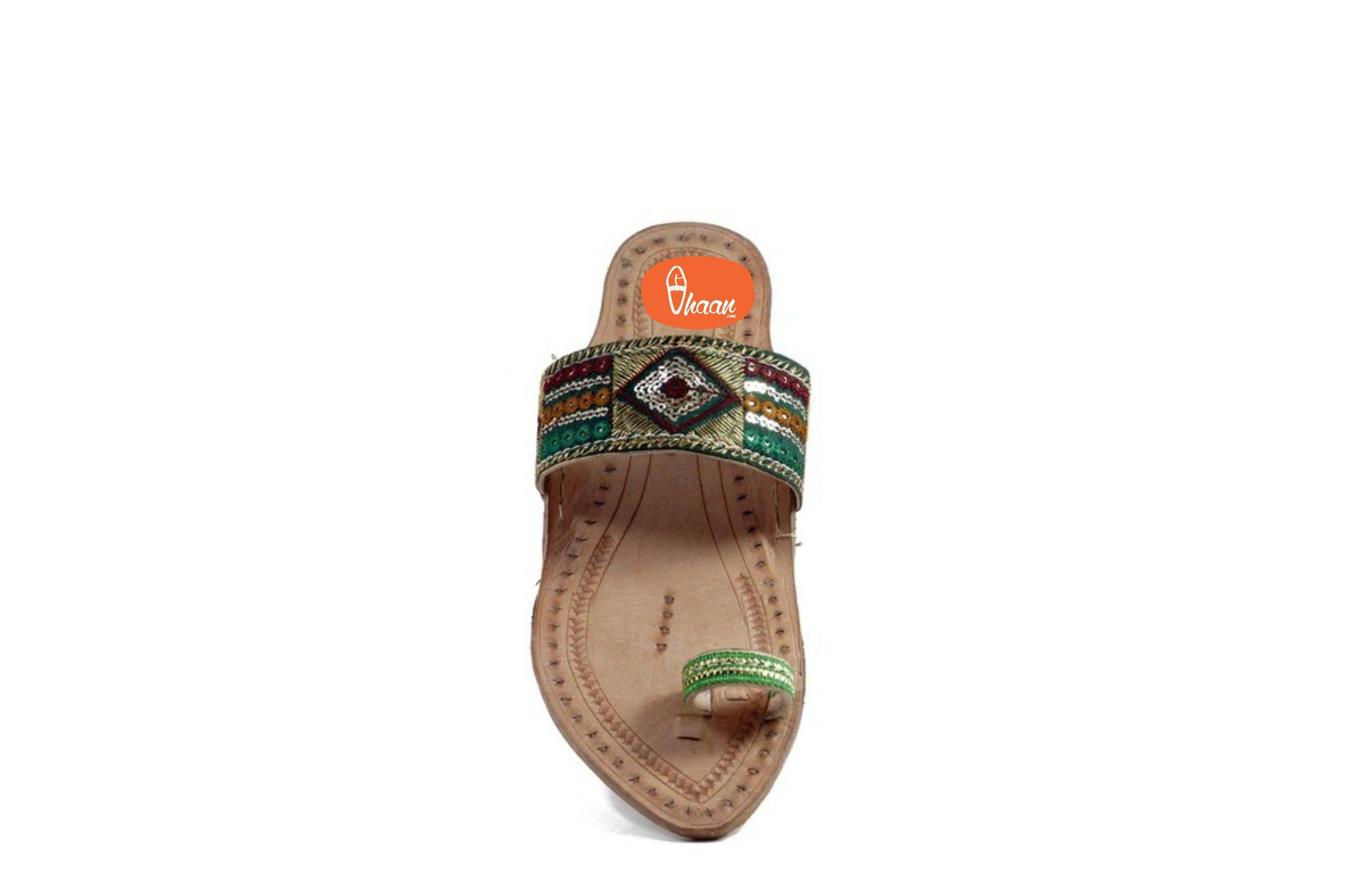 Green Embrodary design ladies kolhapuri chappal (Emerald)-Ladies-vhaanfootwear-4-vhaanfootwear