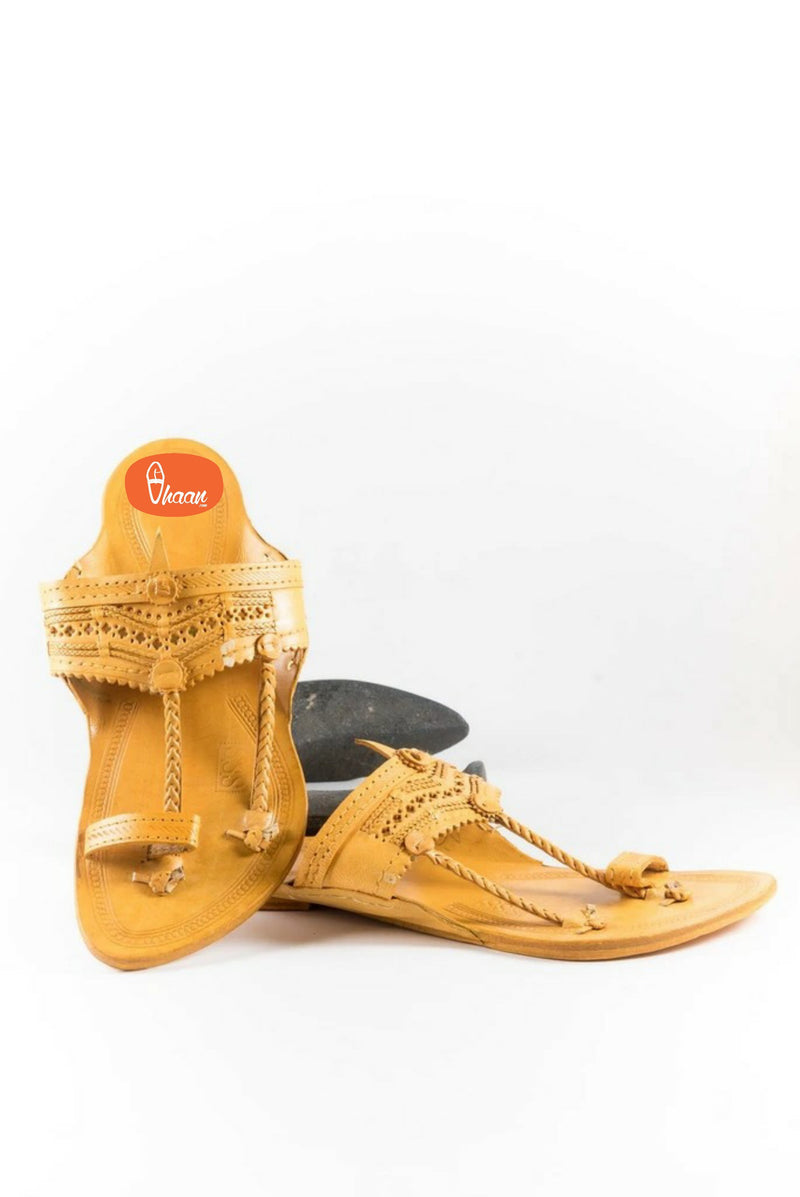 Handicraft Classic Kolapuri chappal for men made in pure leather by Vhaan Men vhaanfootwear