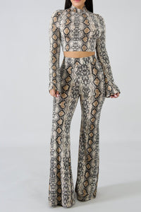 [Sexy_Flare_Leg_Snake_Print_Pant_Set] - The Carib Honey Collection
