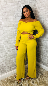 [Yellow_Smocked_Top_Pant_Set] - The Carib Honey Collection