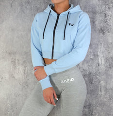 RapidWear - Zipper Crop Hoodie (Faded Blue)
