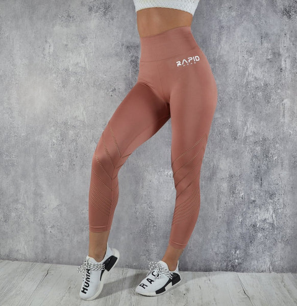 RapidWear - 7/8 Detailed Seamless Leggings (Punch Pink)