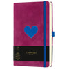 Castelli Milano Velluto Heart Medium Notebook - Fuchsia
