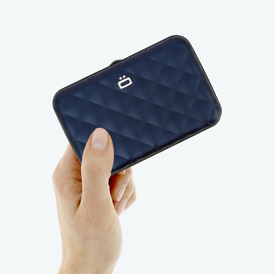 Ogon Quilted Button Card Holder - Navy Blue