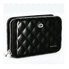 Quilted Zipper Card Holder - Black