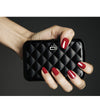 Quilted Button Card Holder - Black