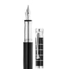 Waldmann Tango Series Brilliant Black Lacquer Ring Pattern Steel ClipFountain Pen with steel nib