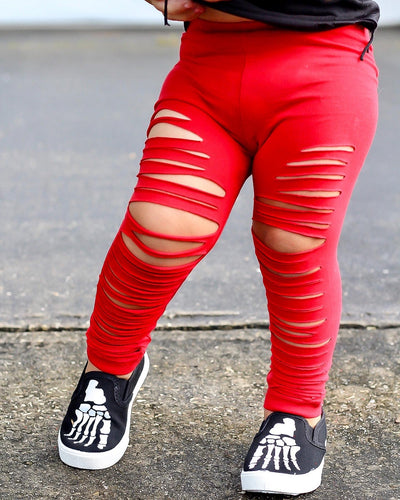 Slashed Red Leggings