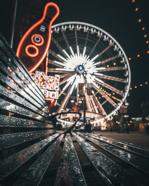 Ferris Wheel With Rainy Bench