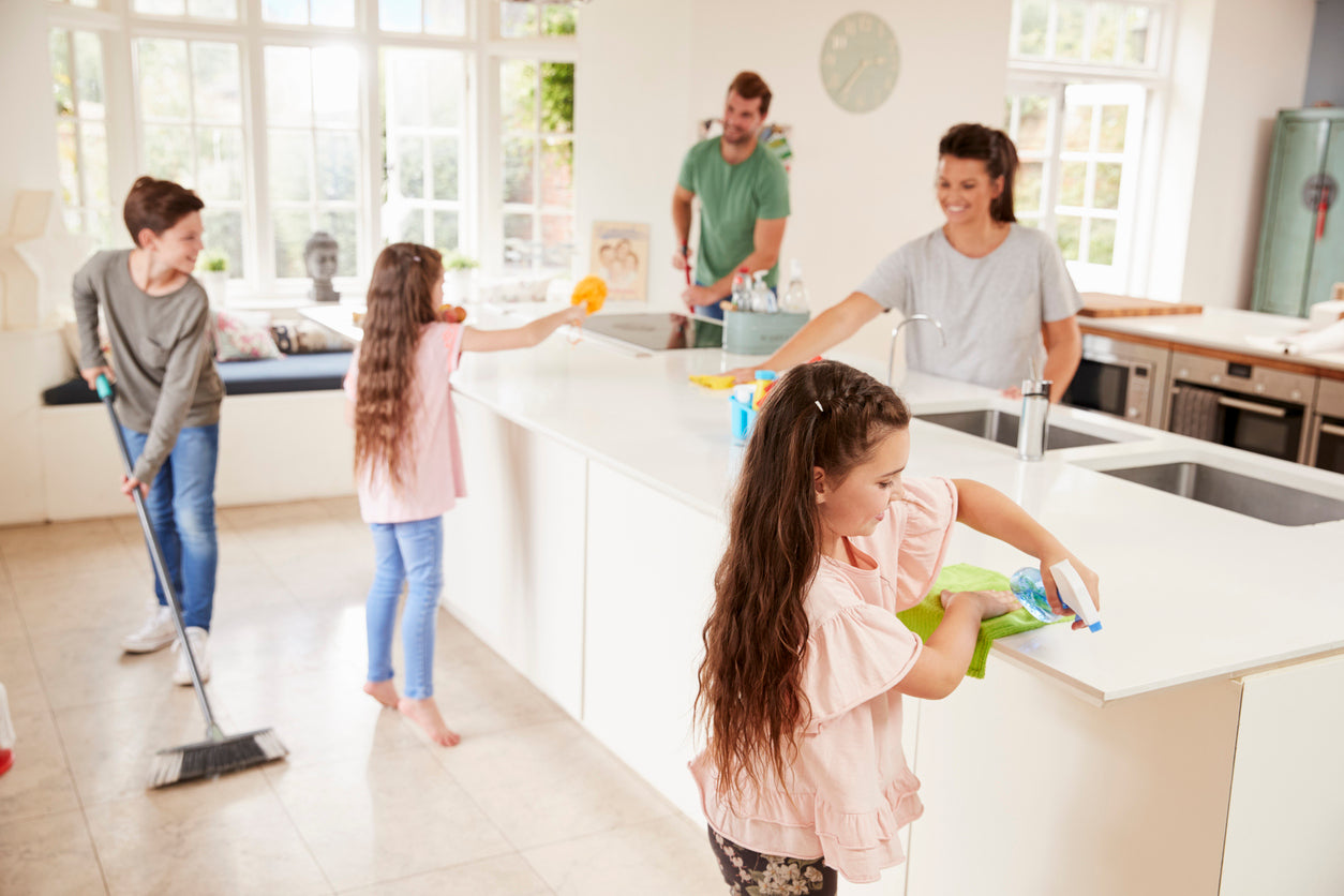 Adults and Children enjoy cleaning their home together