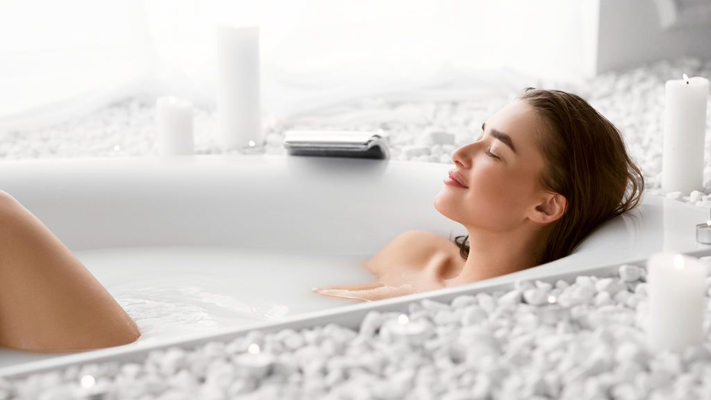 Take a hot bath to stress relief for better sleep