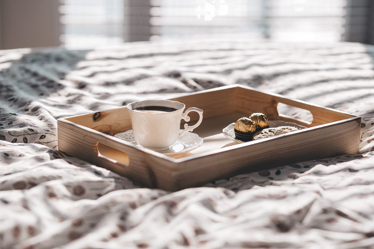 Coffee and chocolate in bed