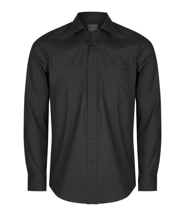 peter-webbers-menswear - GLOWEAVE BLACK POPLIN L/S SHIRT - CLOTHING