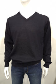 ANSETT SUPERWASH WOOL VEE NECK 'BLACK'