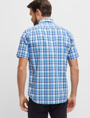 peter-webbers-menswear - BLUE MULTI CURTIS S/S CHECK SHIRT - CLOTHING