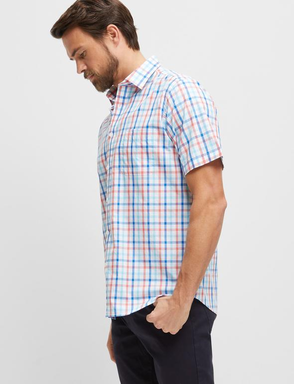 peter-webbers-menswear - ORANGE MULTI MARK S/S CHECK SHIRT - CLOTHING