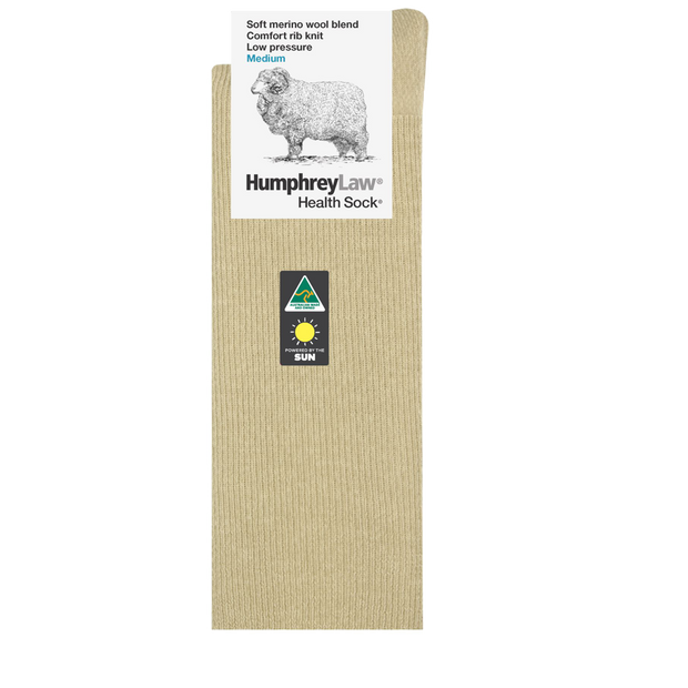 HUMPHREY LAW HEALTH FINE MERINO W/BLEND RIB SAND