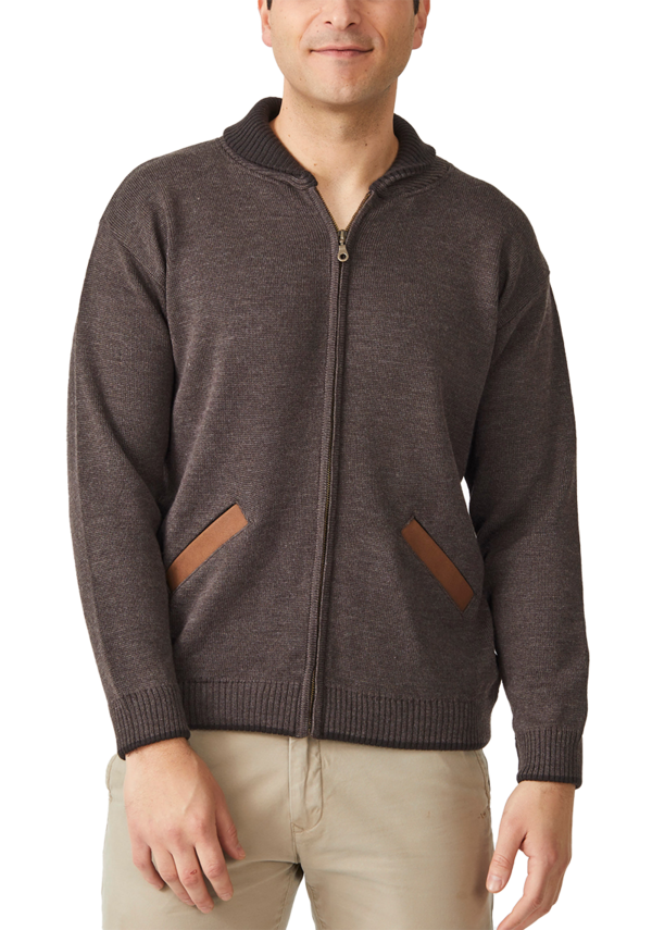 MENS SHAWL COLLAR ZIP CARDIGAN