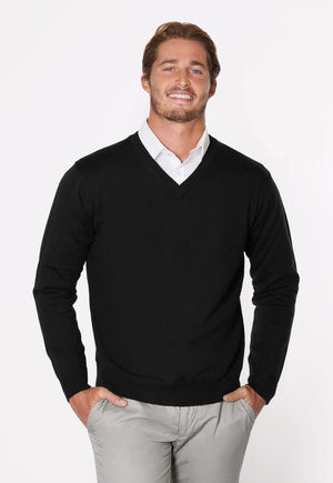peter-webbers-menswear - VEE NECK WOOL PULLOVER - CLOTHING