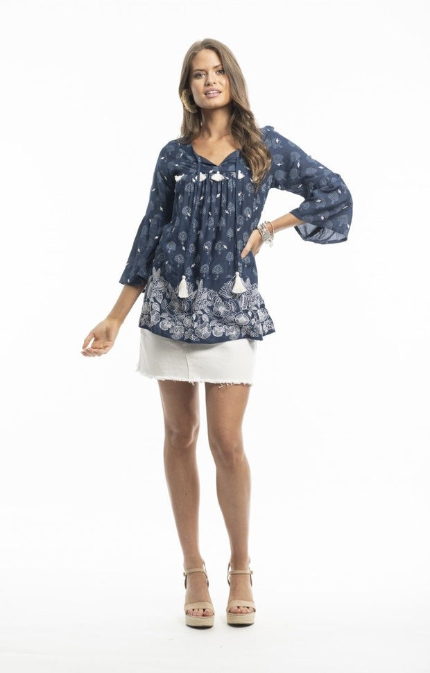 ORIENTIQUE MONACO TOP BOHO NAVY