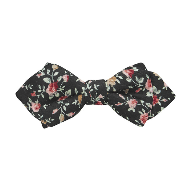 BOW TIE + POCKET SQUARE, FLORA, BLACK