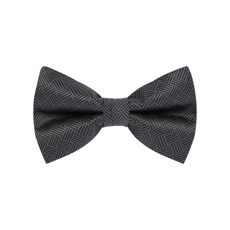 BOW TIE + POCKET SQUARE, BASKET, BLACK