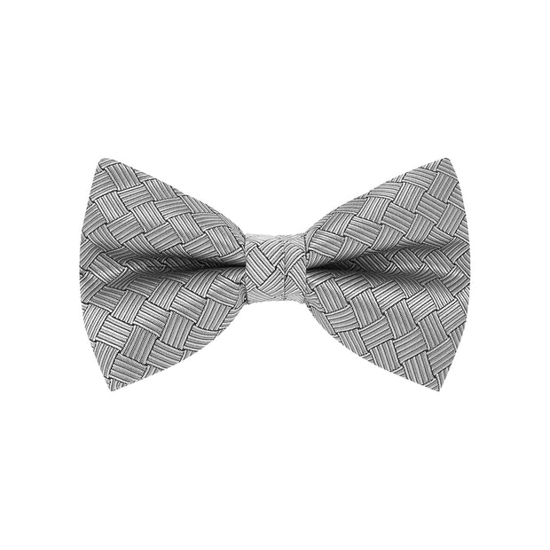 BOW TIE + POCKET SQUARE, BASKET, SILVER