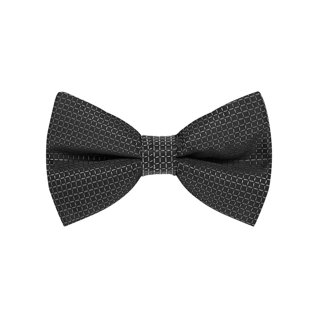 BOW TIE + POCKET SQUARE, GRID, BLACK
