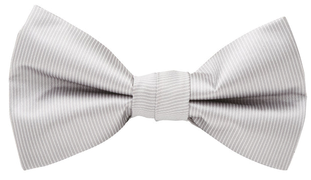 BOW TIE + POCKET SQUARE, PINSTRIPE, GREY