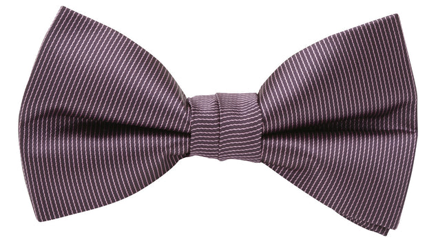 BOW TIE + POCKET SQUARE, PINSTRIPE, PURPLE