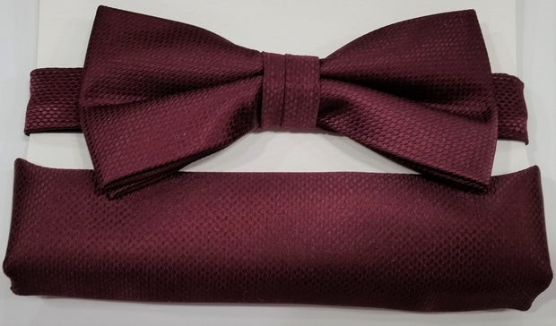 BOW TIE + POCKET SQUARE, CARBON, MAROON
