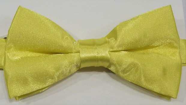 BOW TIE + POCKET SQUARE, PLAIN, YELLOW