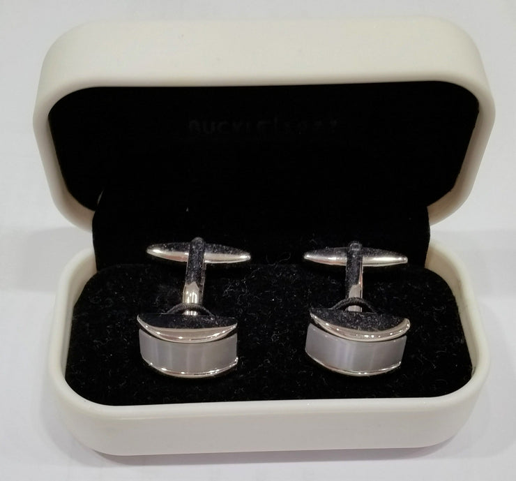 CUFFLINKS NICKLE & MOTHER OF PEARL