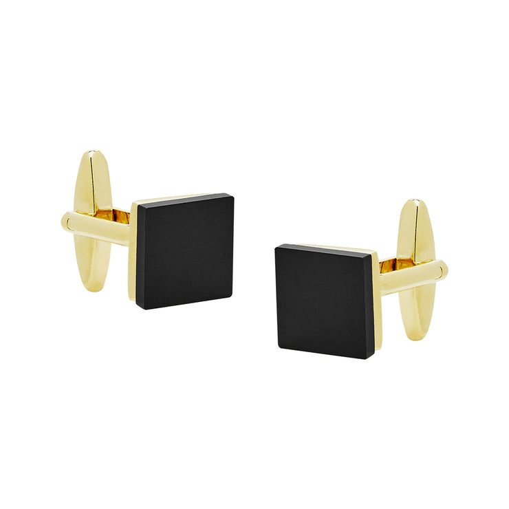 peter-webbers-menswear - CUFFLINKS BLACK GLASS GOLD PLATED - ACCESSORIES