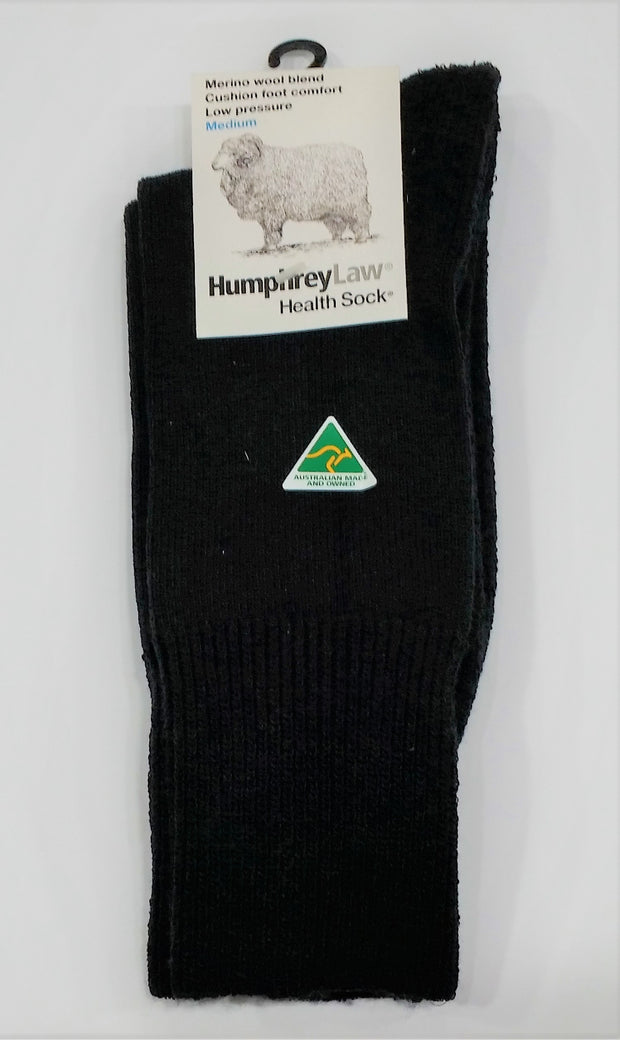 HUMPHREY LAW HEALTH MERINO CUSHFOOT SOCK BLACK