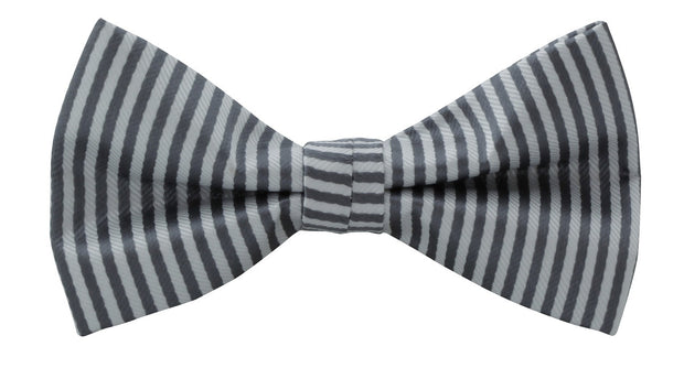 BOW TIE + POCKET SQUARE, NAUTICAL, GREY.