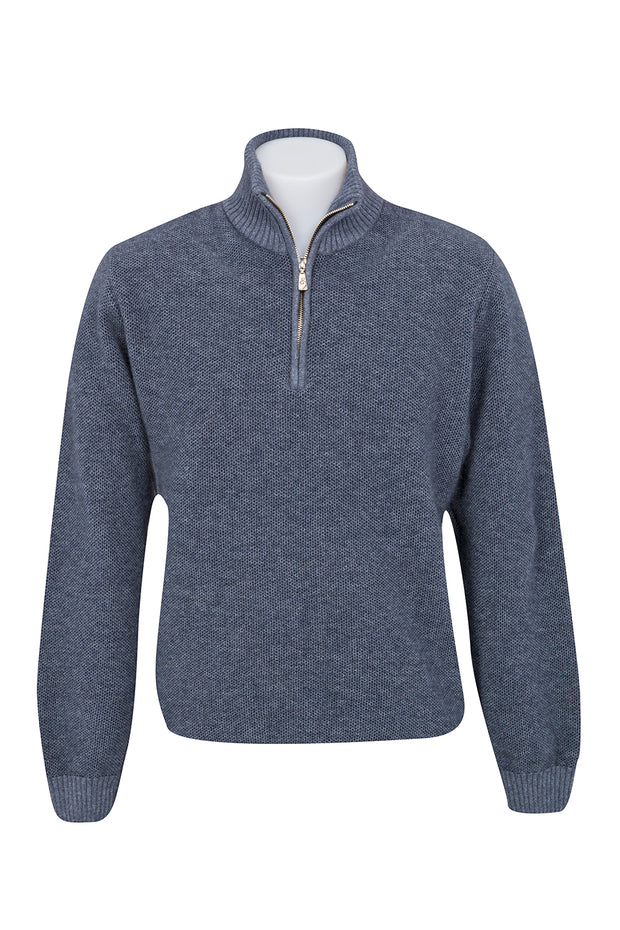 POSSUM TEXTURED HALF ZIP SWEATER
