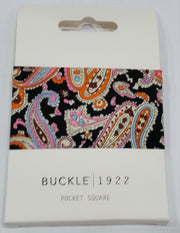 POCKET SQUARE, PAISLEY PINK
